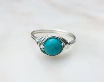 Turquoise Stone Ring, Turquoise blue magnesite Ring, Blue ring, Gemstone ring, Stone Ring, Turquoise Ring, Gift, December birthstone