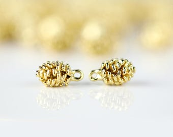 1 Gold Pine Cone Charm, Dainty Gold Pine Cone, 1PPC-G