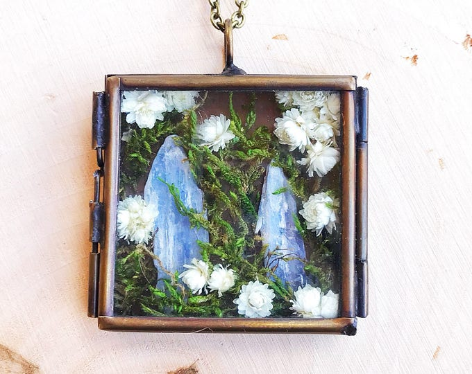Crystal Garden Shadow Box Necklace, Reiki-Infused Kyanite Pendant, Natural Healing Stone, Flower Statement Jewelry, Bohemian, Gifts for Her