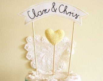 Custom Name Wedding Cake Topper, Personalized Banner with Bride and Groom Name