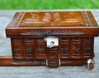 Jewelry holder wooden box with lock, Home decor, Carved box Trinket box Secret stash box, Mystery box, Pandora box, Secret compartment box,