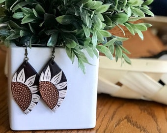 Large Tooled Leather Sunflower Earrings