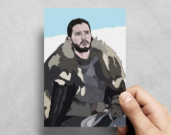 Jon Snow - Game of Thrones - Kit Harrington - HBO - Handmade card - Greeting card - birthday - GoT - Pop culture - Winter - tv - Novelty