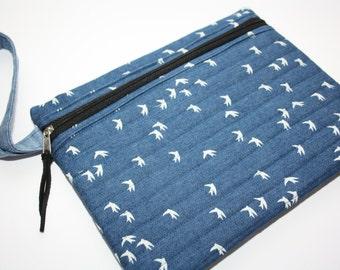 Flat blue bag handmade flat bag in birds | Cosmetic Bag | toiletry | Zipper Pouch | Cosmetic case, iPad mini case /organizer bag/Denim pouch