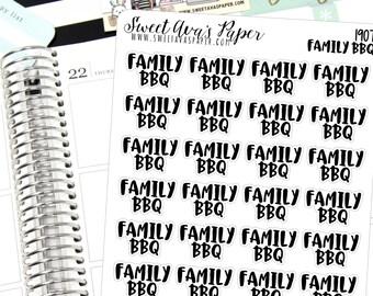 BBQ Planner Stickers - Script Planner Stickers - Lettering Planner Stickers - Typography Stickers - Family Planner Stickers - 1907