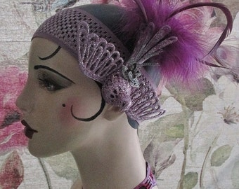 Roaring 20s Feathered GATSBY FLAPPER Lavender HEADBAND