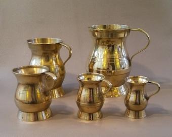 Vintage, Brass Tankards, Brass Tankard Set, Brass Ornaments, Ornamental Brass, Tankards, Display items, Display tankards, Brass Decor