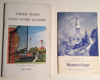 US Coast Guard Academy New London CT 1960s Lot of 2 Books Catalog Guide Memorial Chapel Story