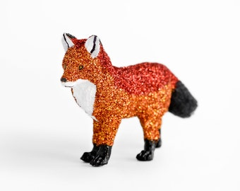 Woodland Glitter Fox Centerpiece Home Decor for Spring, Summer, Fall Weddings in Red and Nectarine Orange Glitter. Great for Table Settings