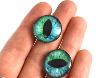 20mm Cheshire Cat Glass Eyes Pair of Cabochons - Cat or Dragon Eyes for Doll or Jewelry Making - Set of 2