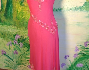 Pink, Silk Chiffon, Beaded, Asymmetrical Dress
