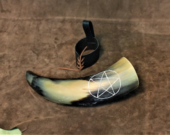 Carved drinking horn, with pentagram symbol, hand made and hand carved