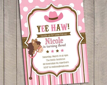 Cowgirl birthday party invitation pink and brown cowgirl birthday invitation cowgirl invitation pink cowgirl invitation pony invitation horse invitation filmwisefo