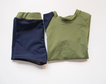 Navy and Olive Rash Guard Set 3 T