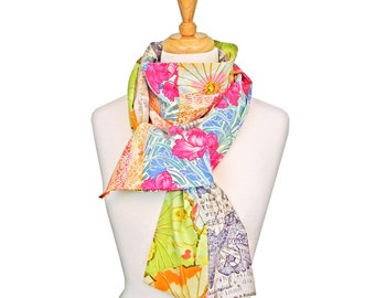 Long Fabric Scarf, Tropical Flowers, Multiple Patterns, Endless Scarf, Multicolor, Fashion Scarf, Cowl