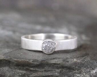 Raw Uncut Diamond Engagement Ring - 1 Carat - Conflict Free Diamond - Matte Texture - Rough Gemstone - April Birthstone -Promise Ring