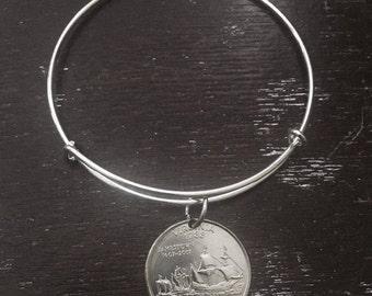 Virginia state quarter expandable wire bangle bracelet