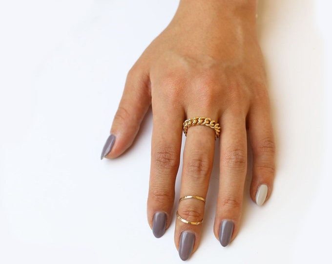 Midi knuckle Ring in gold filled and Sterling Silver / Hammered knuckle rings / Stacking rings/ stakable ring silver rings Handmade jewelry