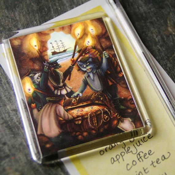 Pirate Cats Art Magnet Treasure Island Feline Fridge Magnet