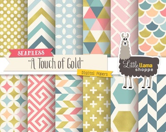 Gold Foil and Colorful Geometric Patterns, Digital Scrapbook Paper Pack, Seamless Backgrounds Commercial Use, Modern Triangles