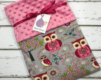 Owl Baby blanket owl blanket Baby girl blanket Baby shower gift woodland pinky blanket Girl baby Shower gift Pink Minky Blanket pink owls