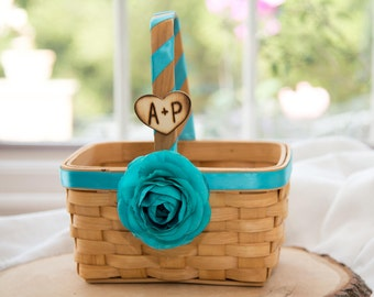 Rustic Custom Wood Squared basket with silk turquoise ranunculus over 60 flowers to select from hand engraved wood heart with initials.