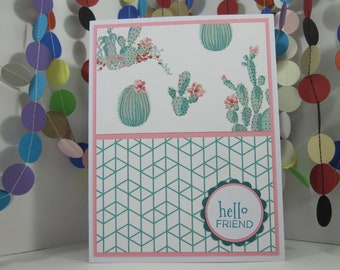 Geometric Cactus Card - teal pink white - hello friend - thank you - you're the best - let's get together - sending love - thanks friend