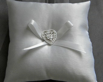Ring Bearer Pillow white satin small heart ribbon -- Open Heart button