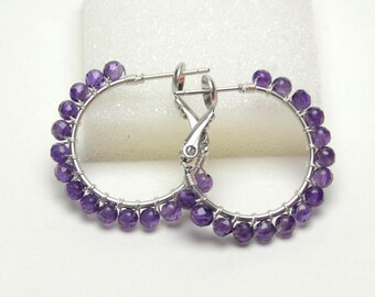 "AAA Amethyst Earrings - Sterling Silver Wire Wrapped Hoops - Purple Gemstone, Silver Plated Hoops with Posts & Leverbacks (20mm, Beaded 1"")"