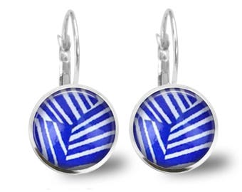 Blue Geo Lever Back Glass Picture Earrings