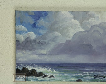 Original decorative oil painting, Thunder clouds over the Atlantic ocean