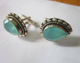Vintage Native American Sterling Silver & Semi Precious Faceted Stone Cuff Links