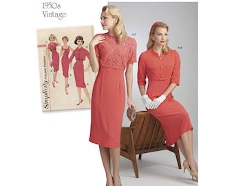 Retro Dress Pattern 1940s - Simplicity 8460 - 1940s Sleeveless Dress with Bolero Jacket  - US Sizes  6 -8 -10 -12 -14 or 14 -16 -18 -20 -22