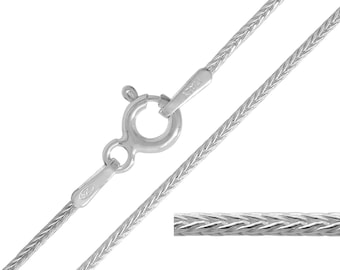 925 Sterling Silver Foxtail 1.1mm Chain Necklace 14 16 18 20 22 24 inches