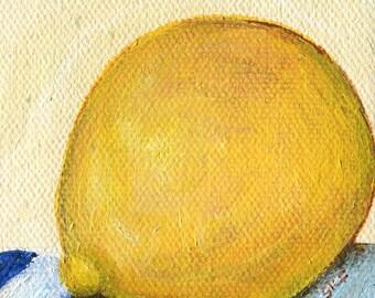 Lemon mini canvas art, mini easel 3 x 3  Small Farmhouse decor, acrylic tiny painting canvas art