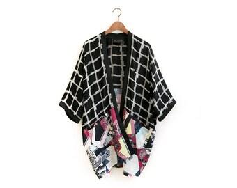 Bohemian Statement Kimono, Checkered Kimono, Check Print Kimono, Geometric Kimono, Boho Cover Up, Special Clothing, Unique Style