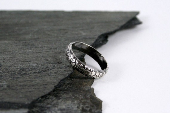 Rustic Flower, Vine & Floral Sterling Silver Ring