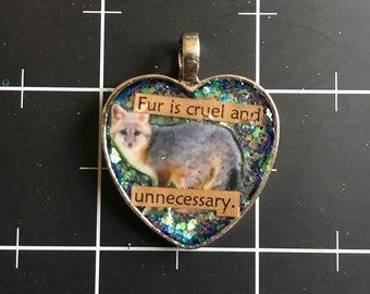 Fur is Cruel and Unnecessary, Silver Fox Pendant, 50% goes to the current focus charity