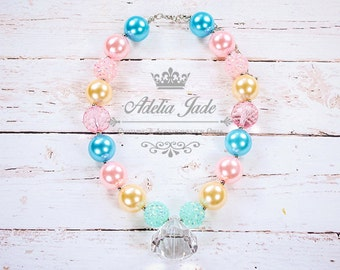 Springtime Easter Chunky Necklace, Easter Chunky Necklace, Spring Pastel Bubble Gum Children Necklace Baby Jewelry, Birthday Necklace