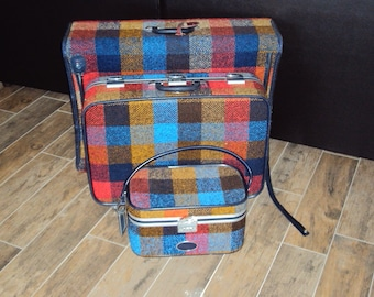 1960s-70s 3 Piece Rainbow Plaid/Tweed Skyway Luggage Set/Patchwork Luggage/ Skyway Traincase/ Softside Tweed Luggage/ Skyway Luggage