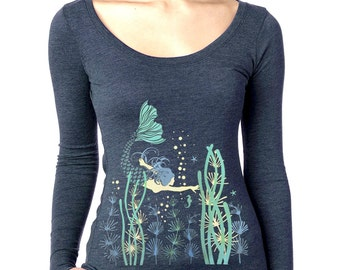 Mermaid T-shirt, Women's long sleeve, Mermaid Art, Mermaid graphic t-shirt, Ocean Flora, gift for her, Art T-shirt, Cool t-shirt