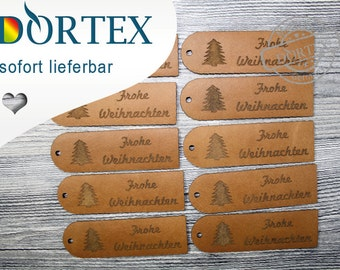 "10 leather label, ""Merry Christmas"""