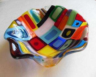 Colorful fun fused glass wavy dish
