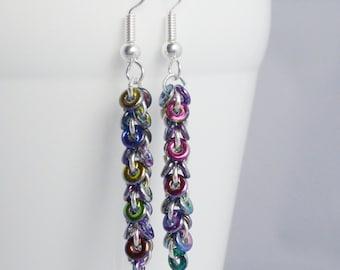 Long Rainbow Earrings, Delicate Dangle Earrings, Circle Drop Earrings, Colourful Chain Jewellery, Gift for Her, Funky Ring Earrings