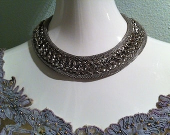 Outstanding Signed Hobé Mesh Bib Necklace