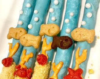 Goldfish OR Finding, Dory, Nemo, Under the Sea, Chocolate Covered Pretzel Sticks