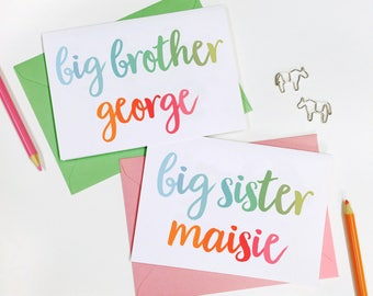 PERSONALISED NEW Baby SIBLING Card New Baby Card Big Brother Card Big Sister Card Baby Keepsake Card Sibling Announcement Baby Announcement