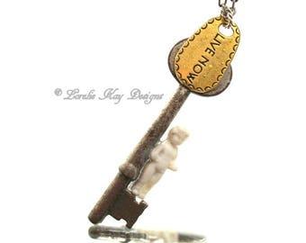 Live Now Frozen Charlotte Doll Necklace Skeleton Key Necklace Antique Key Pendant Lorelie Kay Original