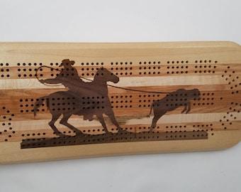 Cowboy Roping Calf Cribbage Board