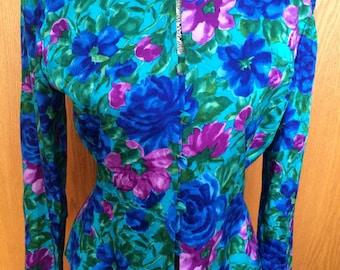 80s Adrianna Pappell Silk Vibrant Floral Dress Blazer - Vtg 6 - Office, Cocktails, Glam